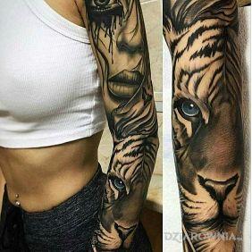 Tatuaże zwierzęta, rękaw tygrysi, dziara dla kobiet