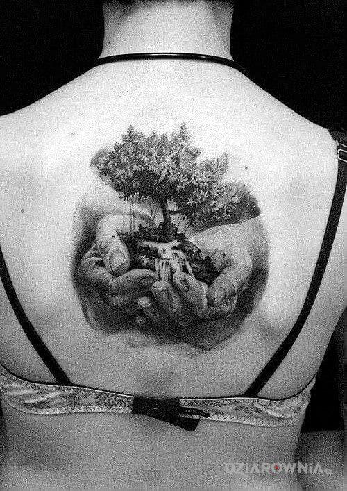 Tatuaż Drzewo W Dłoniach Autor Marek Marecki Dziarowniapl