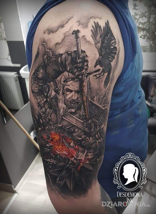 Tatuaż Wiedźmin Biały Wilk Autor Szymon Grzegorczyk Dziarowniapl