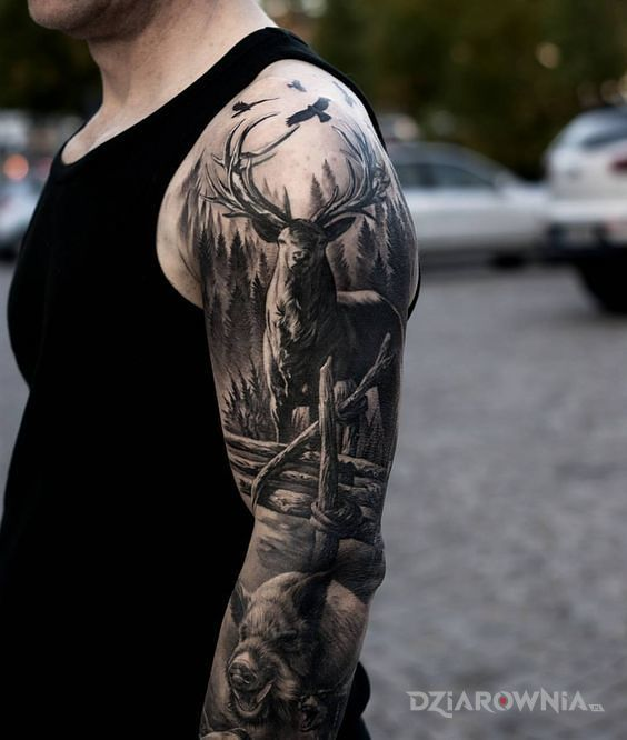 Tatuaż Jeleń I Dzik Autor Papek Dziarowniapl