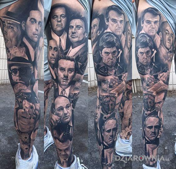 Tatuaż gangsterzy w motywie rękawy i stylu realistyczne na łydce