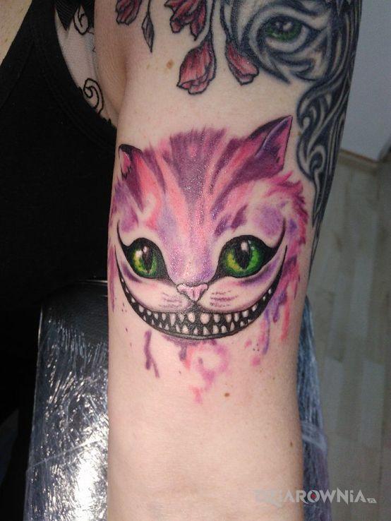 Tatuaż Kot Z Cheshire Studio N Tattoo Dziarowniapl