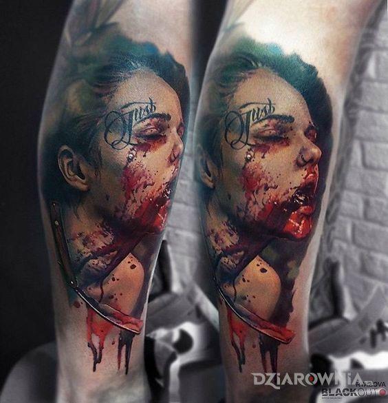 Tatuaż zakrwawiona - 3D