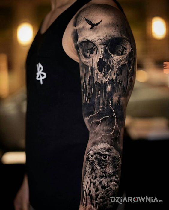 Tatuaż czaszka - rękaw - 3D