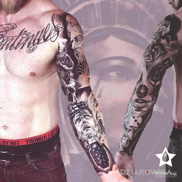 Tatuaże postacie, rękaw czarno-biały, dziara dla mężczyzn