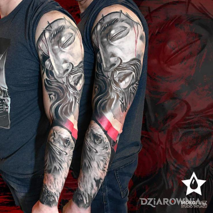 Tatuaż patriotyczny rękaw - twarze