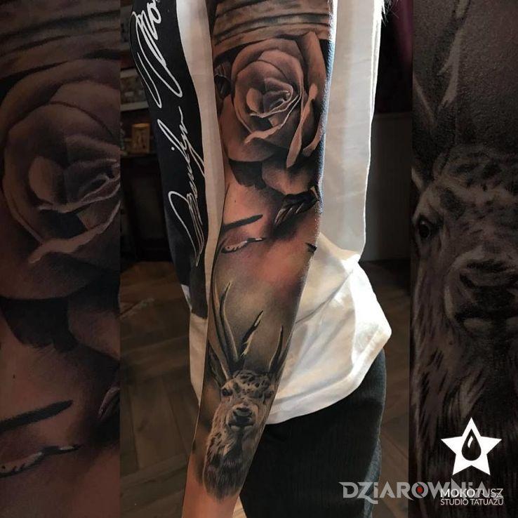 Tatuaż Realistyczny Rękaw Kobiecy Studio Mokotusz Dziarowniapl