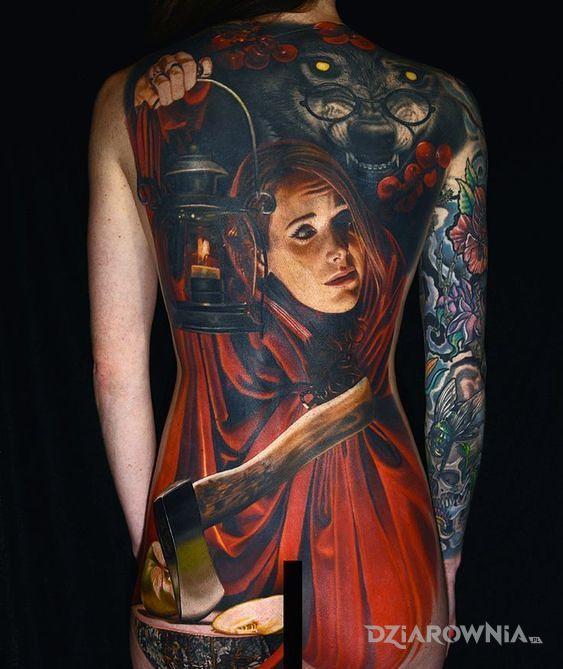 Tatuaż czerwony kapturek - postacie