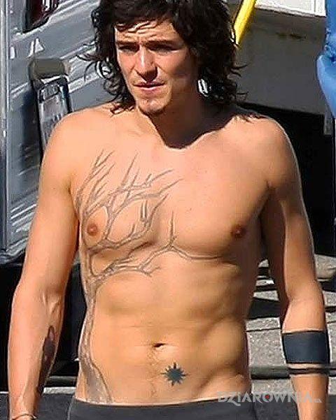 Tatuaż orlando bloom - tatuaż drzewo i gwiazdka w motywie sławnych osób na klatce