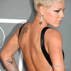 Tatuaże zwierzęta, pink - gwiazdka na plecach i pisek na prawym przedramieniu + nap, dziara dla kobiet