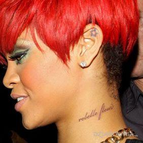 Rihanna - tatuaż rebelle fleur