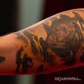 Tatuaże religijne, sebastian bach - religijna dziara na ramieniu, dziara dla mężczyzn