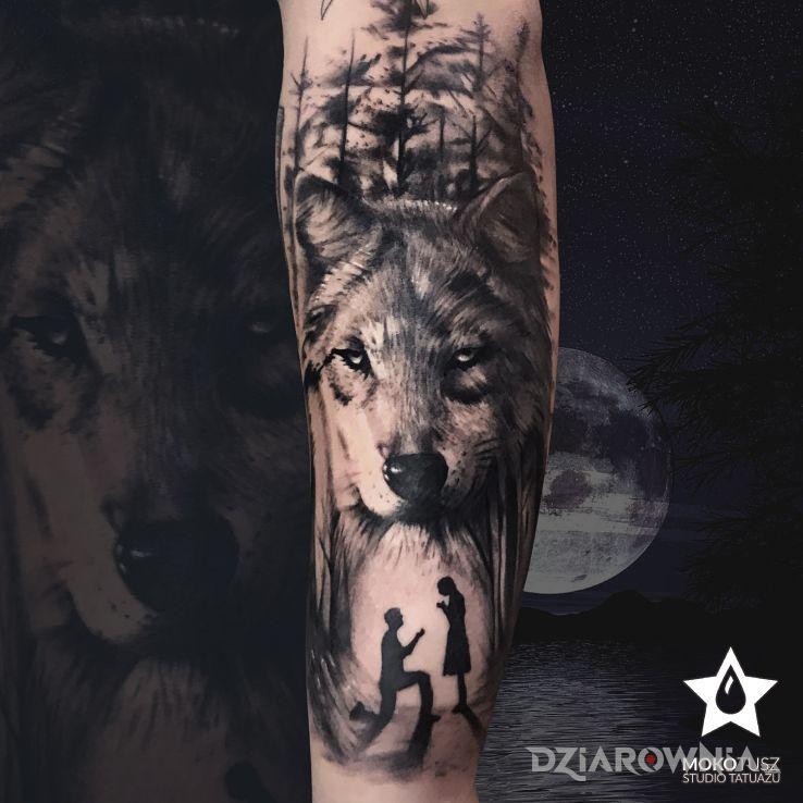 Tatuaż wyjątkowy wilk na wyjątkową okazję :d - miłosne