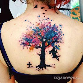 Tatuaże kolorowe, kolorowe drzewo, dziara dla kobiet