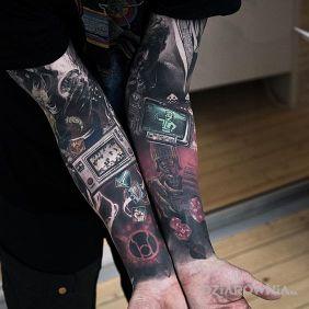 Tatuaże kolorowe, fallout, dziara dla mężczyzn