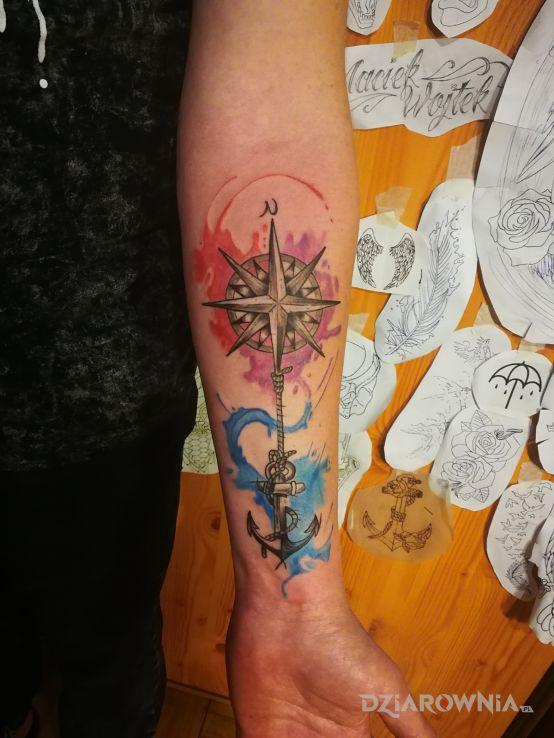 Tatuaż Róża Wiatrów Autor Mareo Dziarowniapl