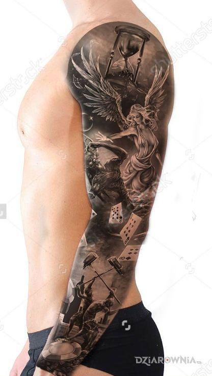 Tatuaż czas aniołów w motywie 3D i stylu realistyczne na przedramieniu
