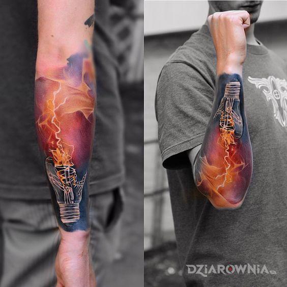 Tatuaż żarówka - kolorowe