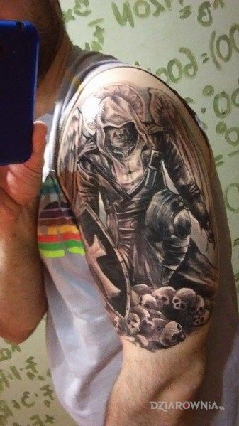 Tatuaż Assassin Warrior Angel Autor Sebastian Wywiórka