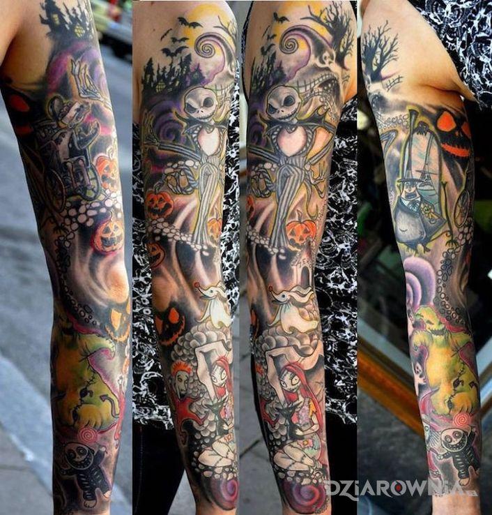 Tatuaż martwa panna młoda w motywie postacie na ramieniu