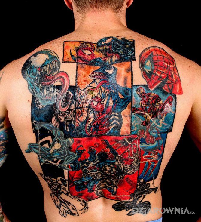 Tatuaż spider-man w motywie postacie na plecach
