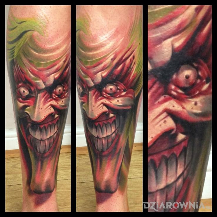 Tatuaż joker w motywie postacie na przedramieniu