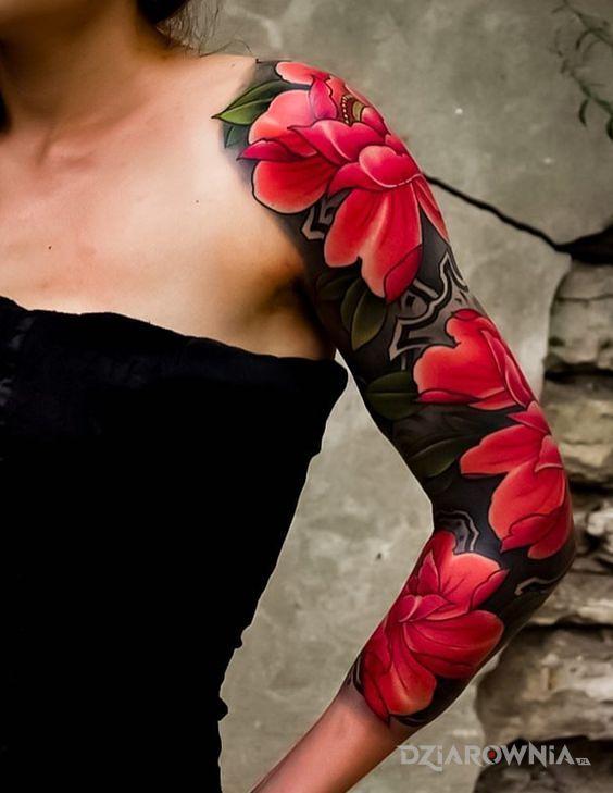 Tatuaż Kwiaty W Kolorze Czerwieni Autor Baltazar Gąbka