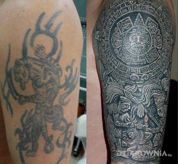 Tatuaż aztecka dziara - Cover Up