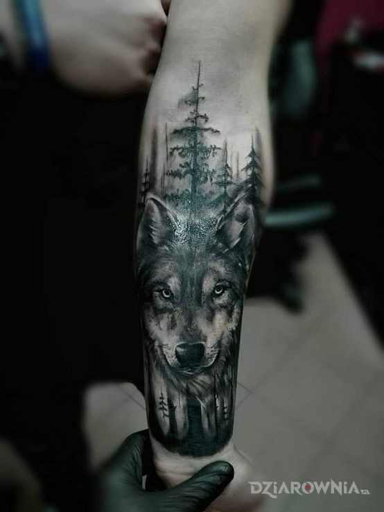 Tatuaż wilczek - rękawy