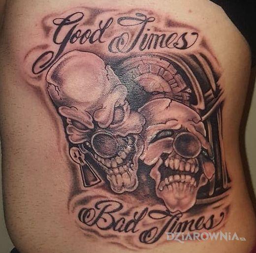 Tatuaż good times bad times - twarze