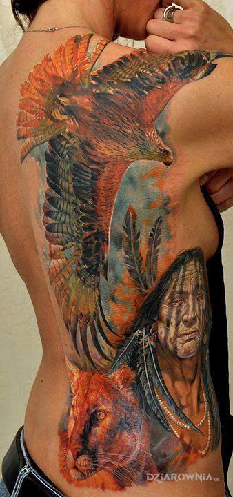 Tatuaż indiański klimat - twarze