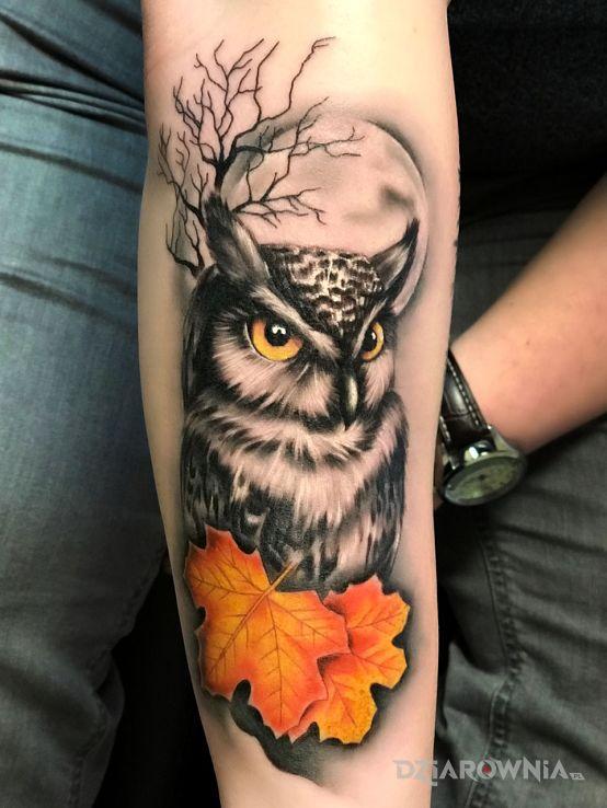 Tatuaż Jesienna Sowa Autor Bghtattoostudio Dziarowniapl