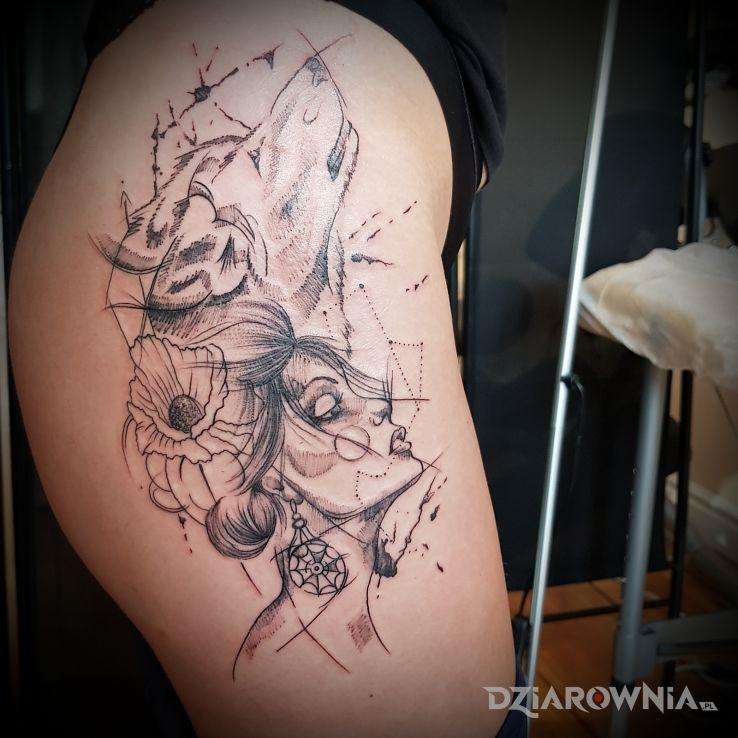 Tatuaż Wilk Z Kobieta Autor Elzbieta García Dziarowniapl