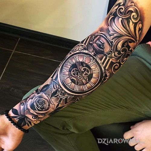 Tatuaż zegarmistrz - rękawy