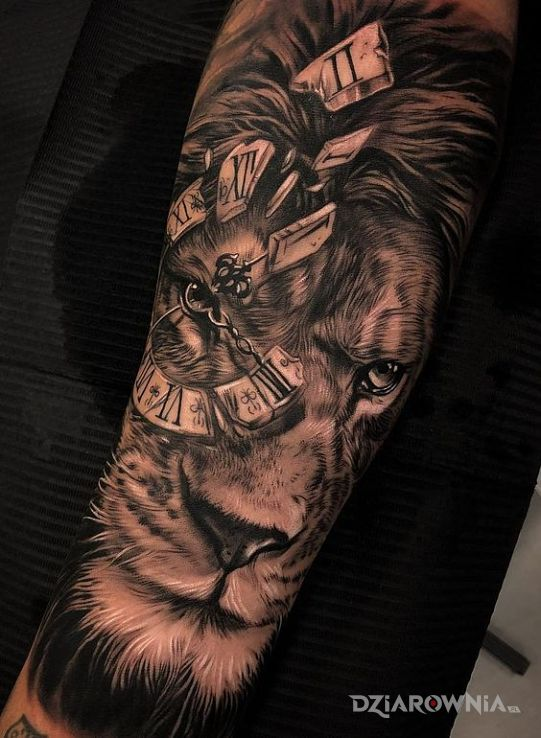 Tatuaż lew czasu - zwierzęta