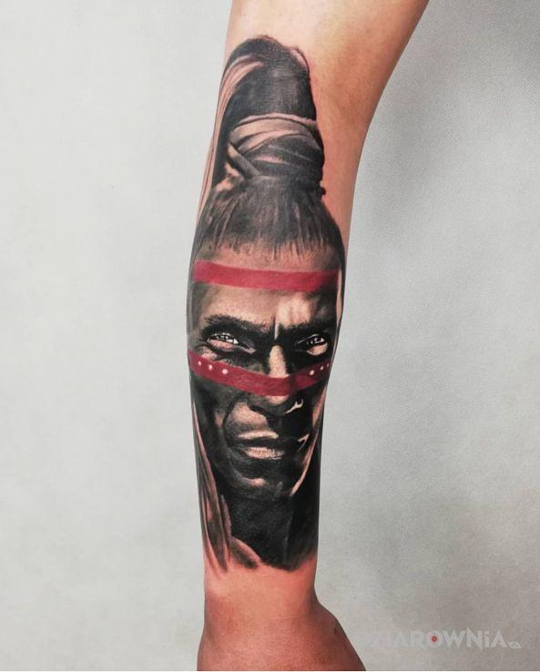 Tatuaż wojownikprzywodca - kolorowe