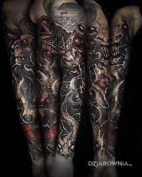 Tatuaż zlowieszczy rekaw - rękawy