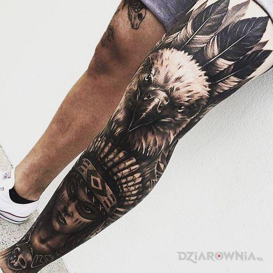 Tatuaż indiańska noga - rękawy
