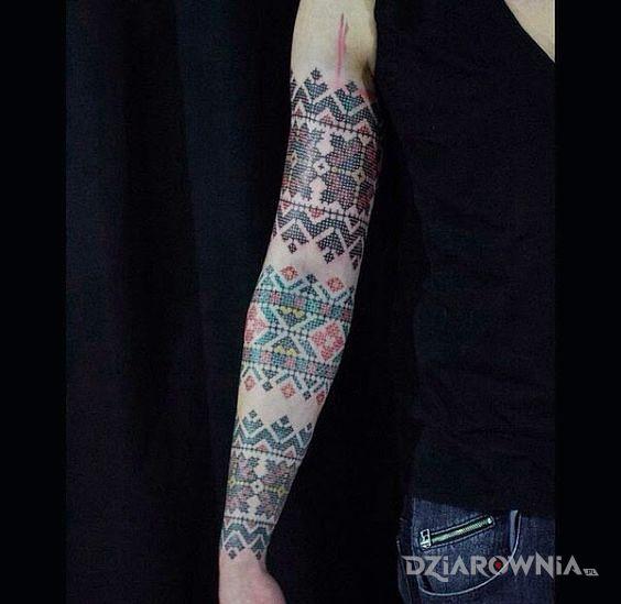 Tatuaż haftowany rękaw - kolorowe