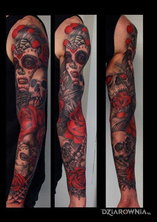 Tatuaż Santa Muerte Czerwone Autor Miszor246 Dziarowniapl