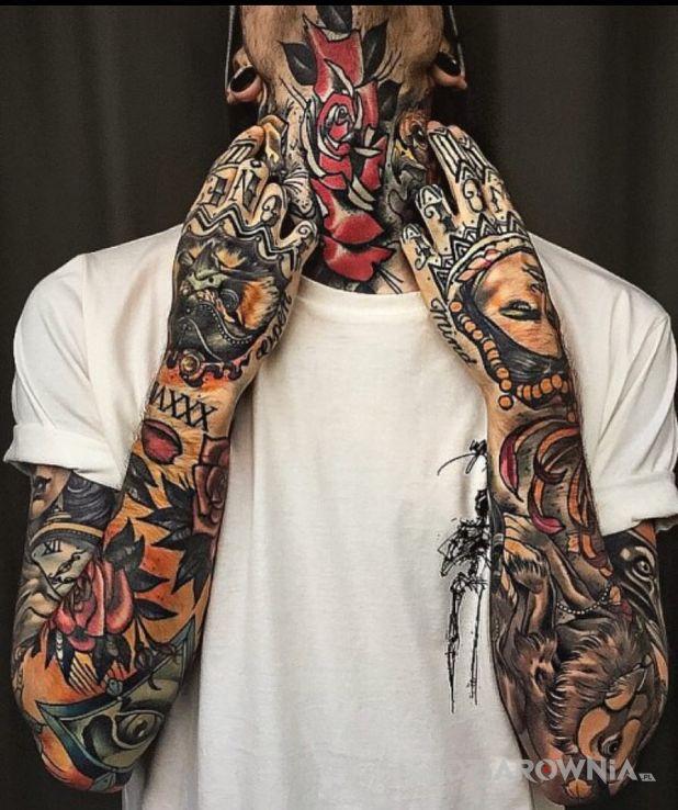 Tatuaż oldschool bwoy - kolorowe