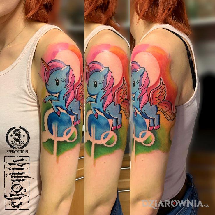 Tatuaż jednorożec - kolorowe