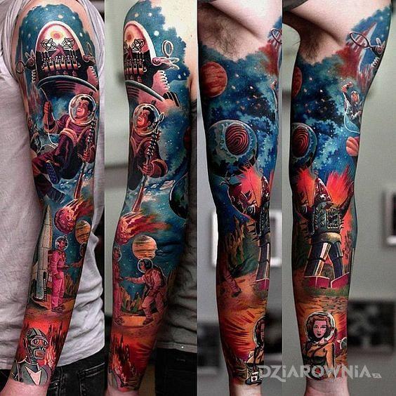 Tatuaż kosmiczne przygody d w motywie rękawy i stylu realistyczne na przedramieniu