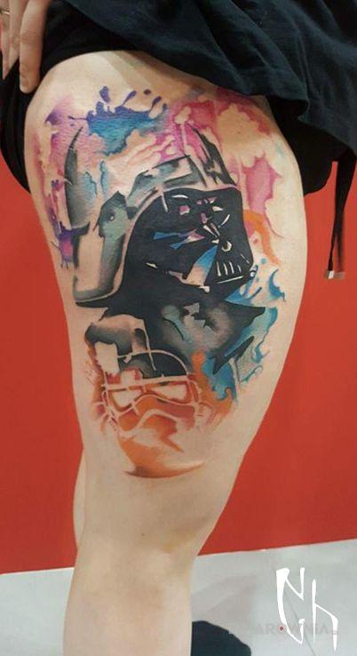 Tatuaż gw w akwarelach - postacie